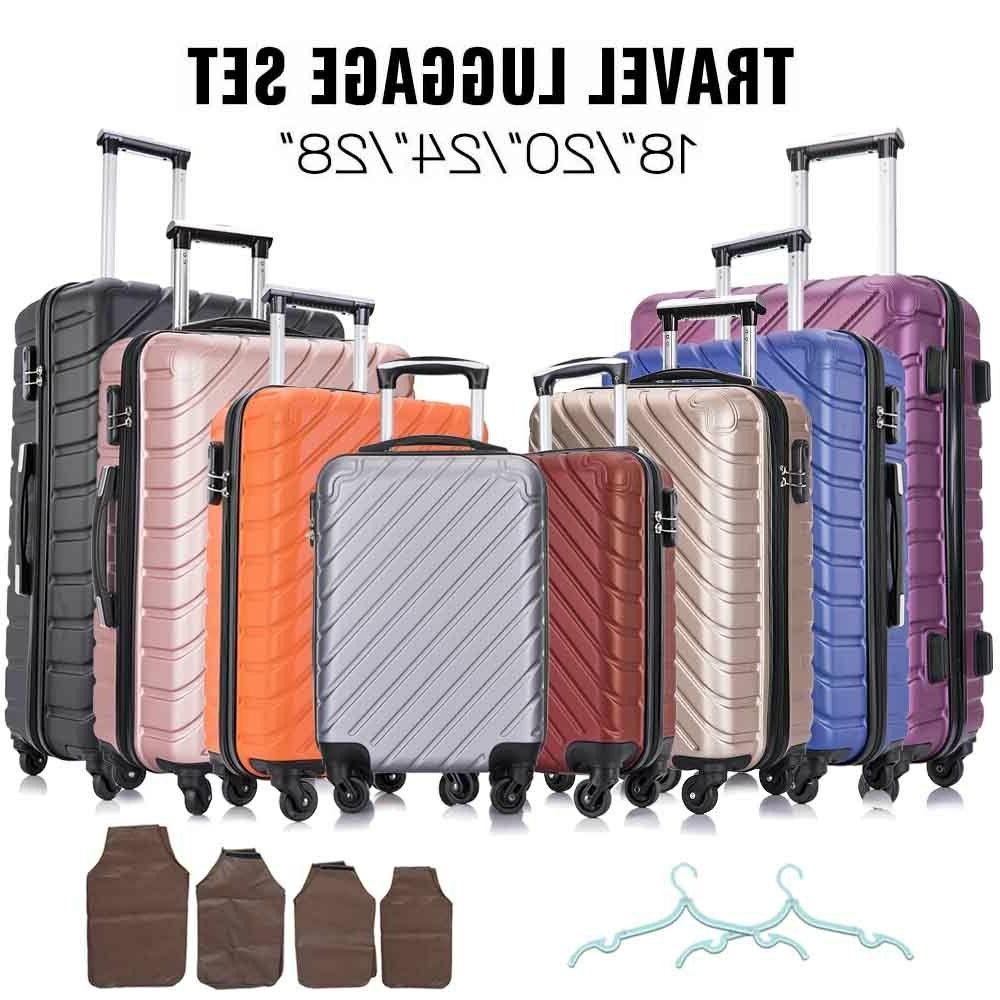 4 piece travel luggage set lightweight suitcase