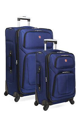 6283 expandable 2pc spinner luggage set blue