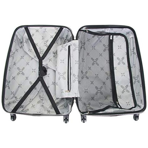 """Aimee Kestenberg Women's Journey Hardside 4-Wheel 3-Piece Luggage 24"""", Black"""