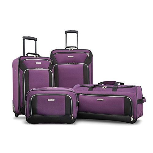 American Tourister Fieldbrook XLT 4pc Set , Purple/Black