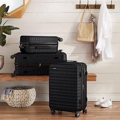 AmazonBasics Hardside Spinner Luggage Black SHIPS FAST
