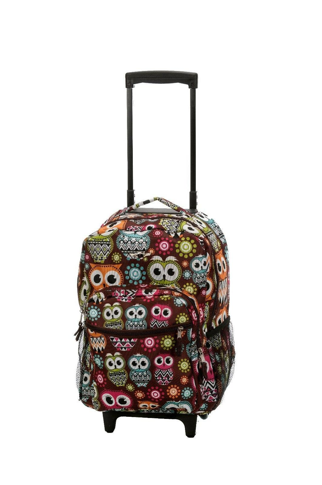 "Deluxe Wheel Backpack 17"" Carry Travel Luggage Travel"