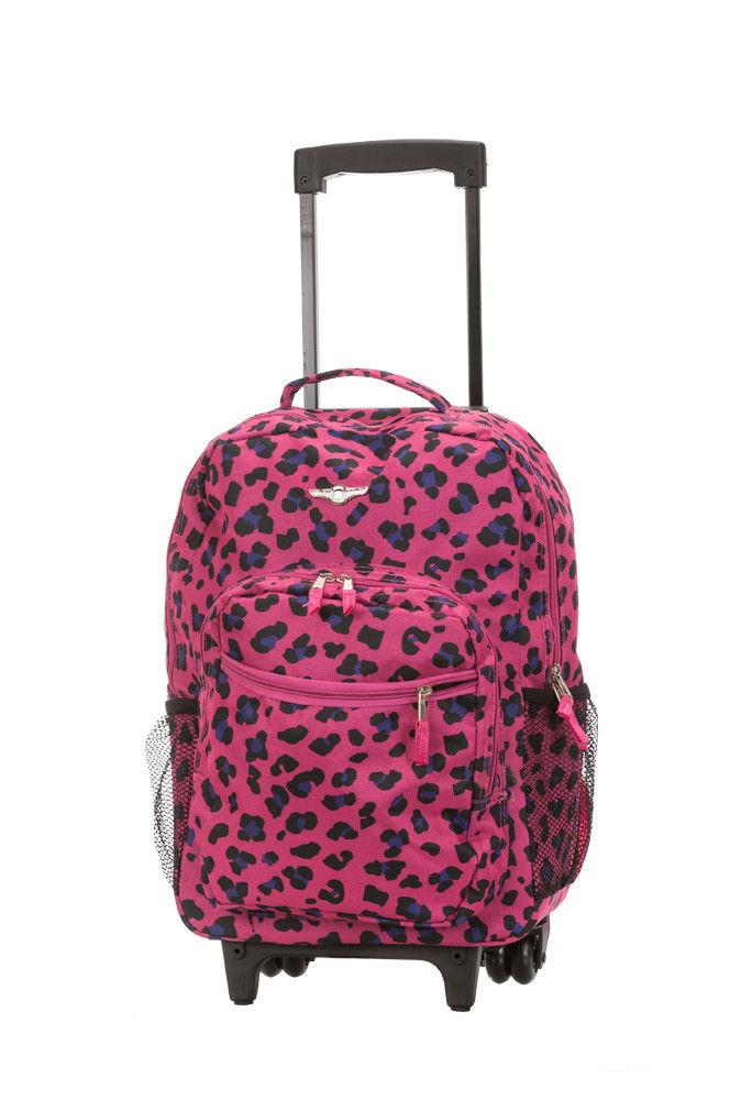 "Deluxe Wheel Backpack Rolling 17"" on Luggage Bag"