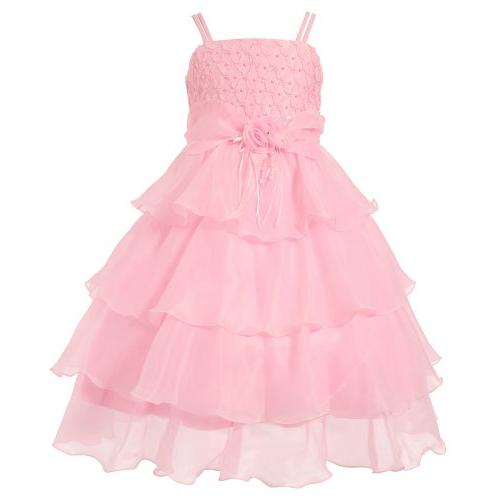girls layered dress with rosette and pearl