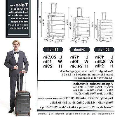 COOLIFE On Suitcase Built-in TSA New