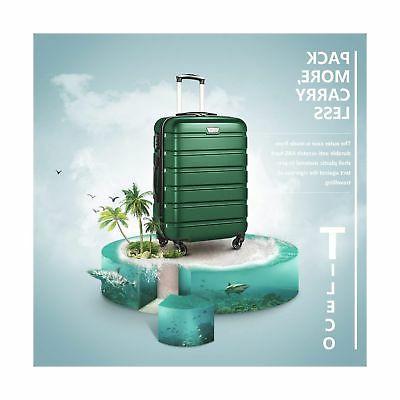 COOLIFE Set Suitcase Spinner Lightweight green3