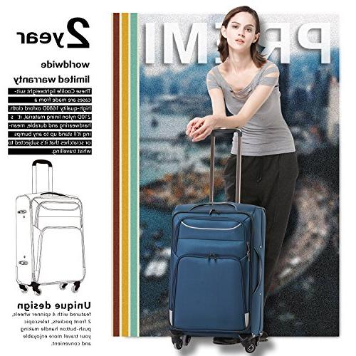 Coolife Luggage 3 Set Suitcase Softshell lightweight