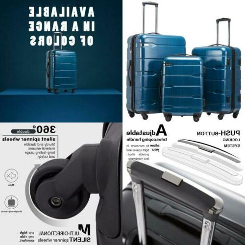Luggage Expandable 3 Piece Sets PC+ABS Spinner Suitcase Buil