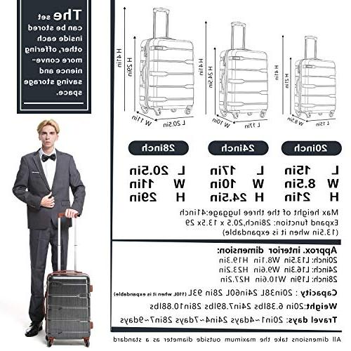 Coolife Expandable Piece Sets PC+ABS Suitcase inch 28 inch