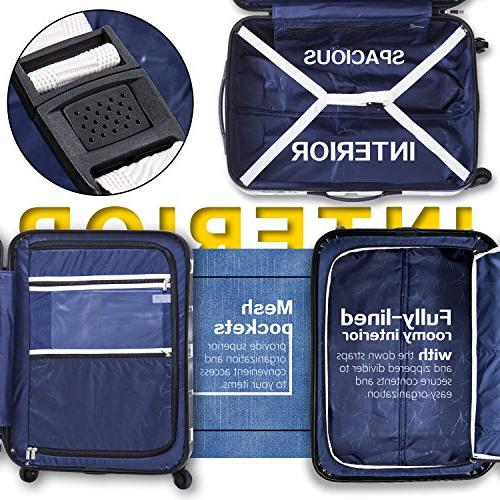 COOLIFE Expandable Suitcase PC+ABS Lock 20in 24in Carry on