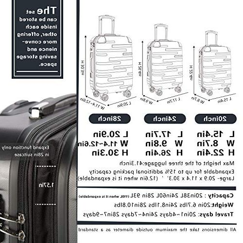 Coolife Expandable Suitcase 3 Piece with TSA Lock Spinner