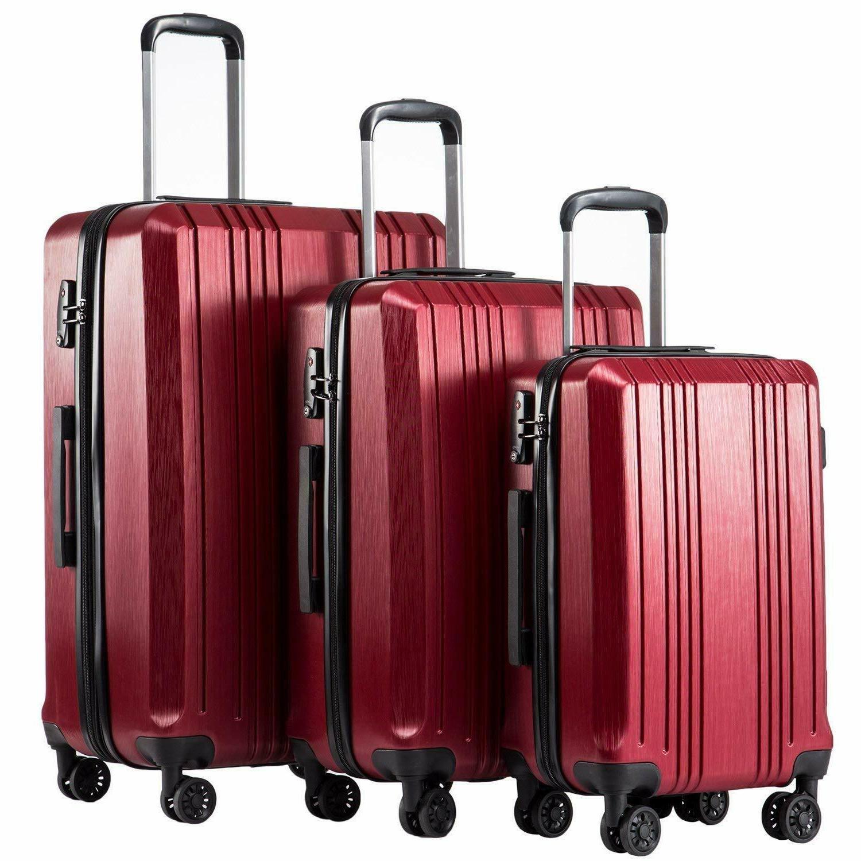 Coolife Luggage Expandable Suitcase PC+ABS 3 Piece TSA Lock