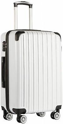 COOLIFE Luggage Expandable Suitcase PC+ABS Spinner White Gri