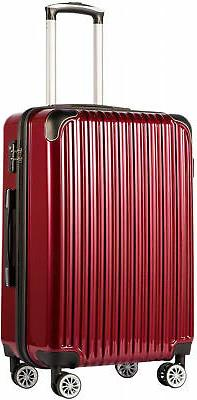 COOLIFE Luggage Expandable Suitcase PC+ABS Spinner Wine Wind