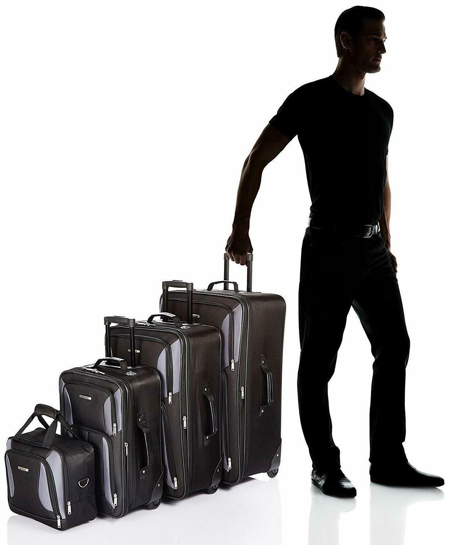 Rockland Expandable Wheeled 4 Bags, Black/Grey