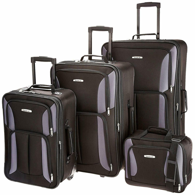 luggage expandable wheeled 4 piece set travel