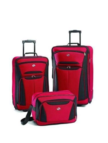luggage fieldbrook ii 3 piece set red