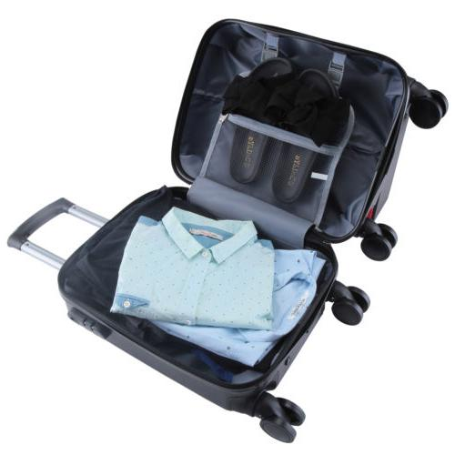 4Pcs On Luggage Bag Spinner w/Lock Black