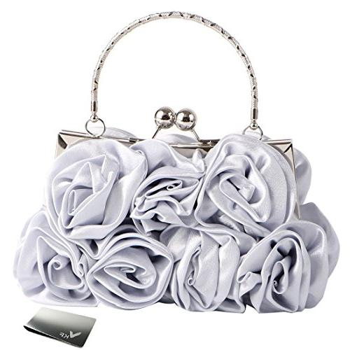 missy k 7 roses clutch purse satin