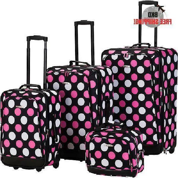 Rockland 4-pc. Pink Dot Luggage Set