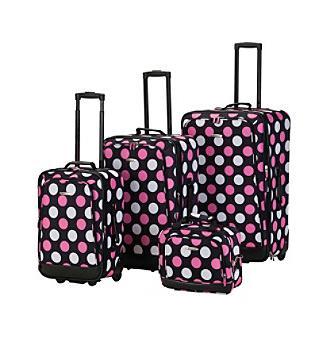 multi pink dot luggage set
