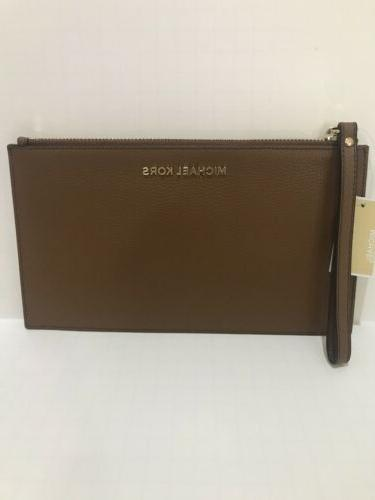 nwt jet set large zip leather clutch