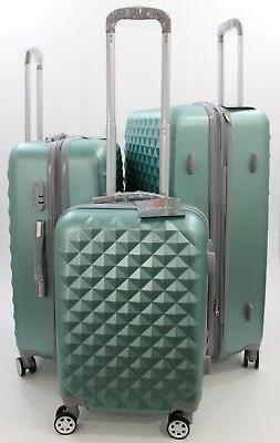 NWT SILVER GREEN SPINNER HARDCASE SUITCASE LUGGAGE UPRIGHT 3