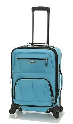 Rockland Luggage 19 Inch Expandable Spinner Carry on Turquoi