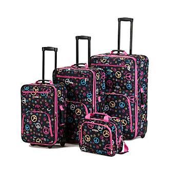 peace print luggage set