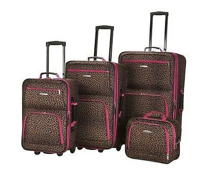 Rockland PINK LEOPARD LUGGAGE SET Luggage NEW