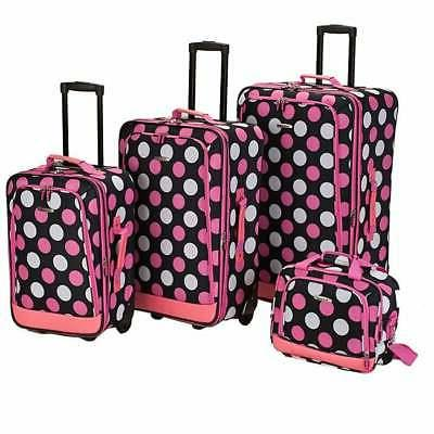 Rockland Pink Polka Dot 4-piece Expandable Luggage Set - 28
