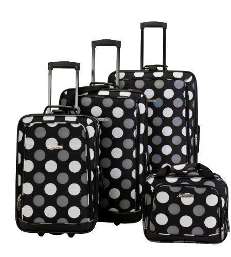 pink polka dot expandable luggage