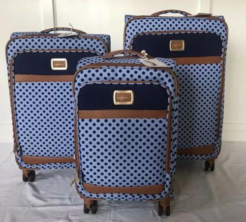 powder blue navy dot topia luggage 20