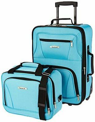 Fashion Softside Upright Luggage Set, Turquoise, 2-Piece