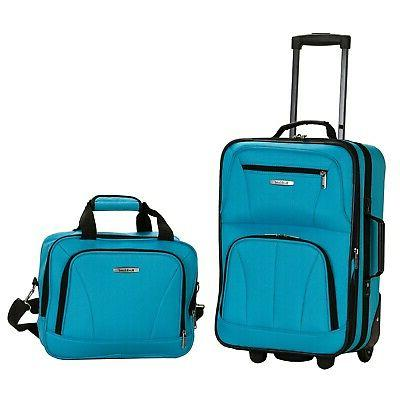 rockland turquoise lightweight 2 piece carry on