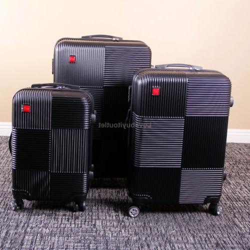 Set 3 Luggage Suitcase Spinner Lock