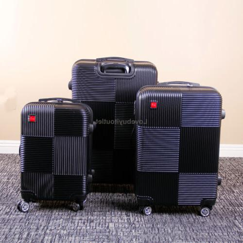 Set of 3 Luggage ABS Suitcase 360° Spinner Wheels Lock