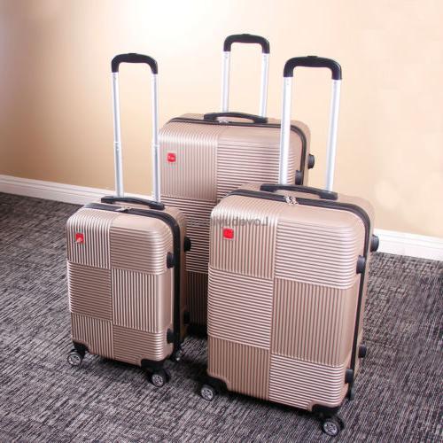 Set of 3 Luggage Set Trolley Suitcase Lock