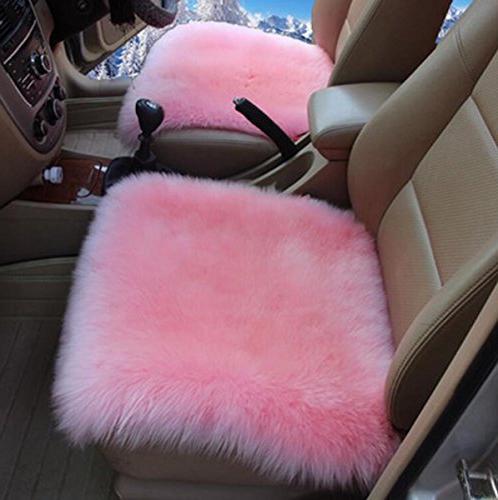 Sisha Sheepskin Cover Warm Natural Wool Car Universal Fit for Car, Truck, SUV, or Van Pink