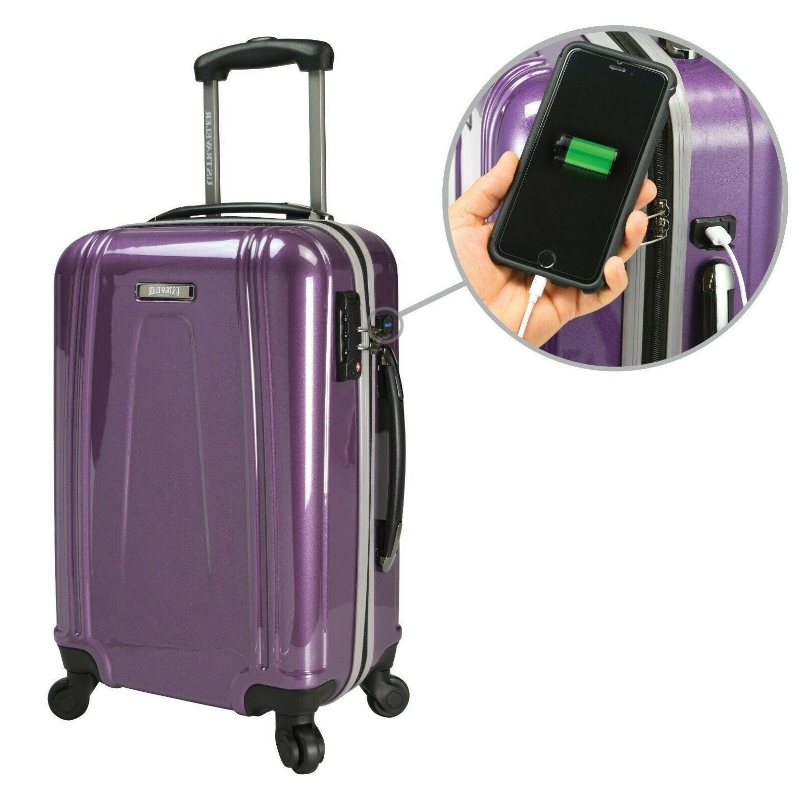 22 Inch Carry On Rolling Spinner Luggage Travel Suitcase Wit