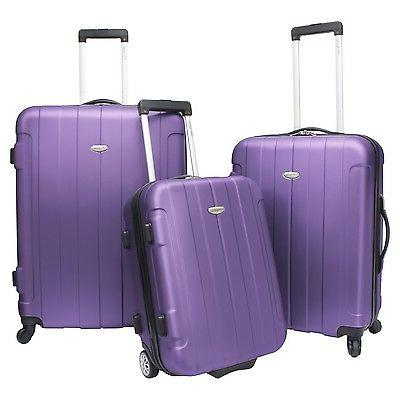 traveler choice 3 piece purple rome hardside