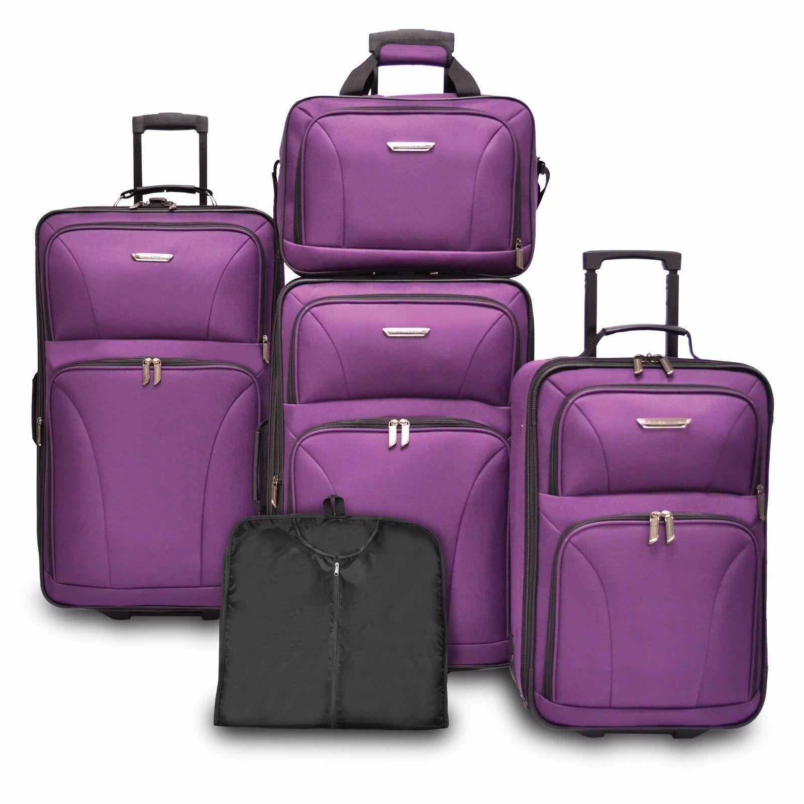 Traveler's Choice TC0835 Versatile 5-Piece Luggage Set - Pur
