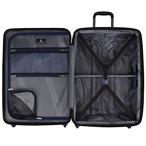 Traveler's Durable Hardshell Expandable Large Checked Suitcase with Interior Divider System,