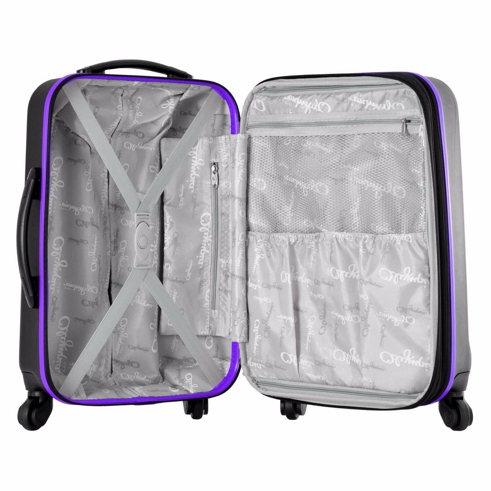 Olympia® USA Apache 4-Wheel Spinner Luggage Set-Black/Purple