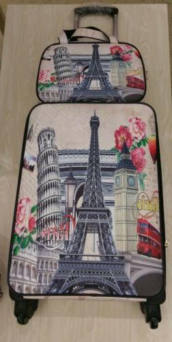 Vintage Paris Print 2 Piece Carry On Luggage Set Spinner Sof