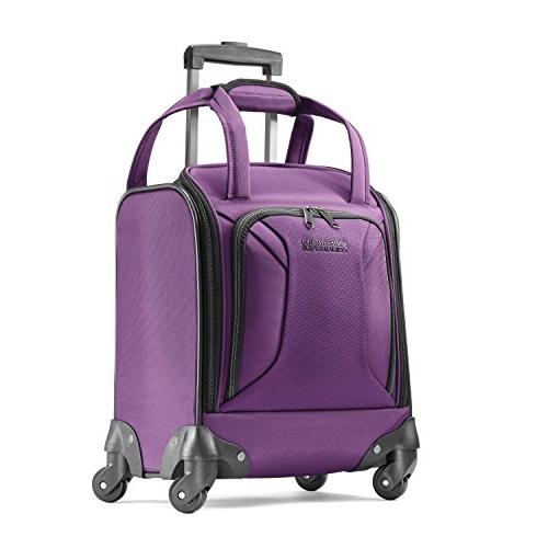 zoom spinner tote carry on luggage purple