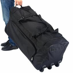 Large Black Rolling Wheels Duffle Tote Gym Bag Luggage Sport