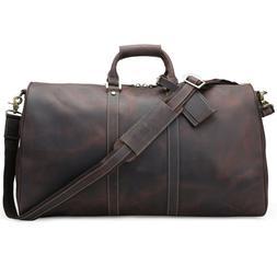 "Genuine Leather 22"" Luggage Travel Suitacase Overnight Duffe"