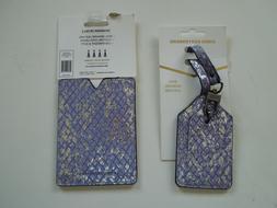 AIMEE KESTENBERG Leather Luggage Tag & Passport Holder, Blue
