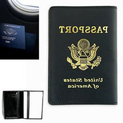 Leather Passport Cover Case US Gold Logo Holder Wallet Trave
